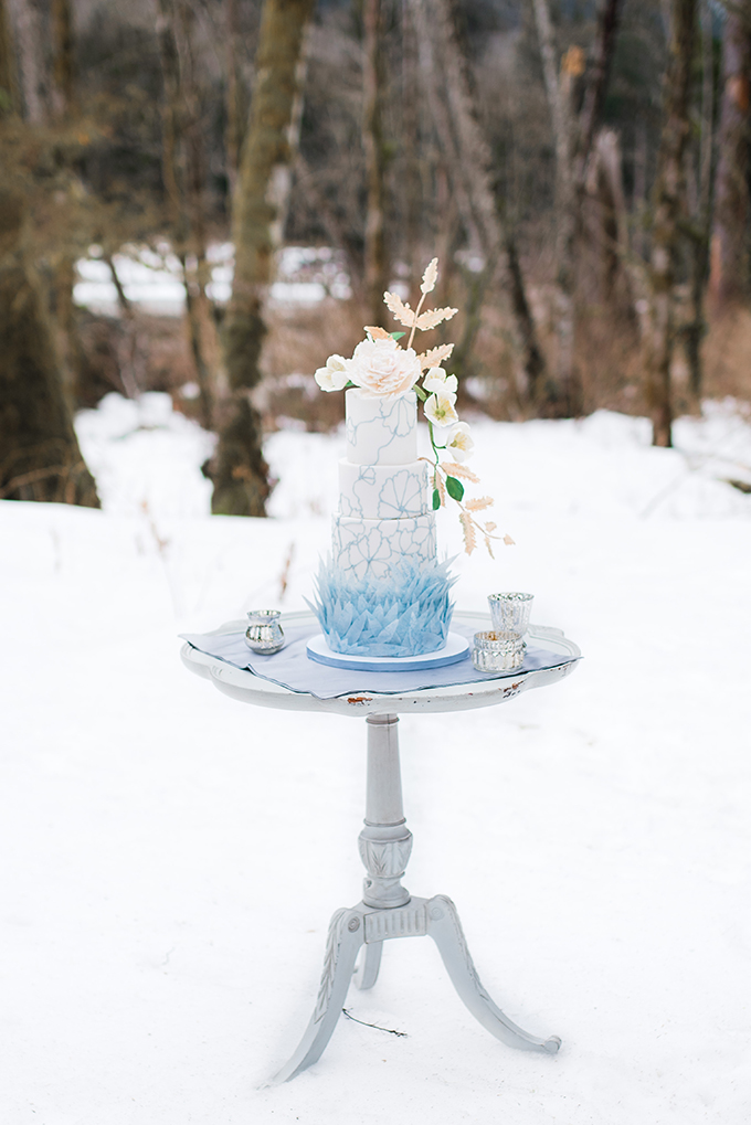 The wedding cake was a real masterpiece of cakery art, with painted blue flowers and icy blue shards
