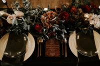 08 The wedding reception was done in black, burgundy, gold and blush with an elegant and refined feel