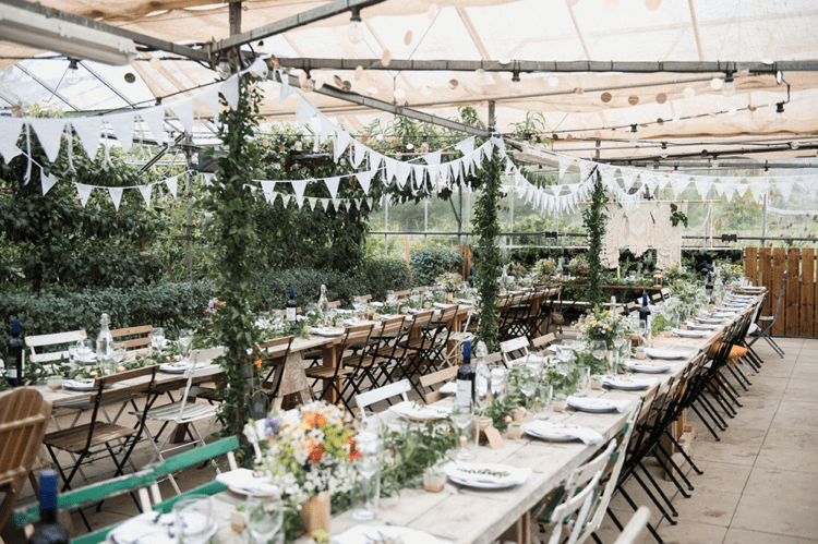 The wedding venue was done with lots of buntings, polka dots and much greenery