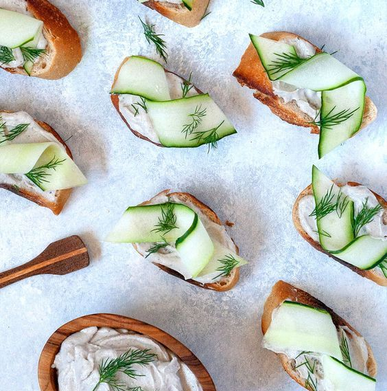 creamy cucumber dill crostini are loaded with savory flavor and fresh herbs