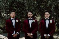 08 fashionable groomsmen style with black cropped pants, black moccasins and burgundy velvet tuxedos