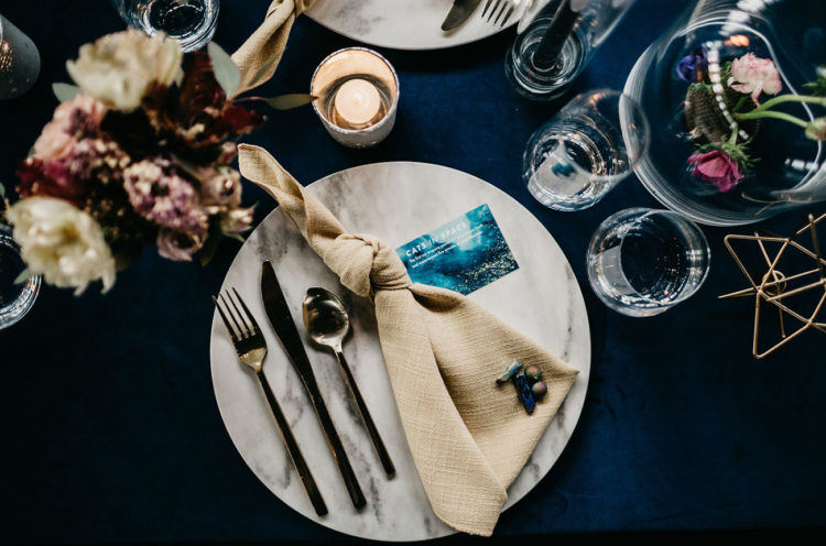 Celestial touches were added to each place setting