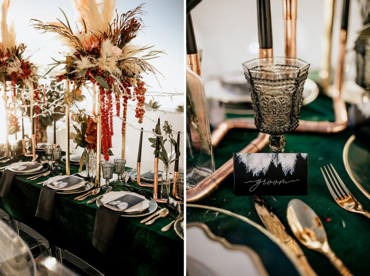 Gold and brass touches and black candles gave a refined and chic look to the tablescape