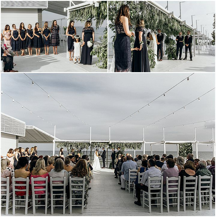The ceremony space was sun-lit and light-filled, so amazing and festive