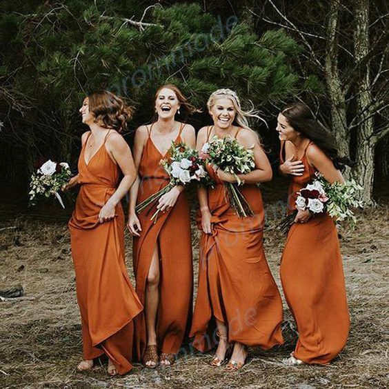charming wrap rust bridesmaid dresses with spaghetti straps are ideal for a boho wedding