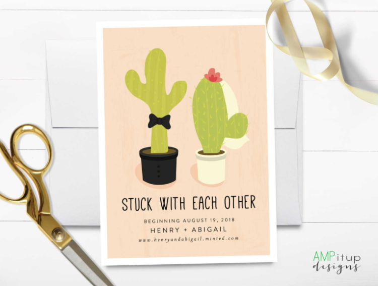 this wedding invitation suite with cacti is ideal for a desert or southwestern wedding