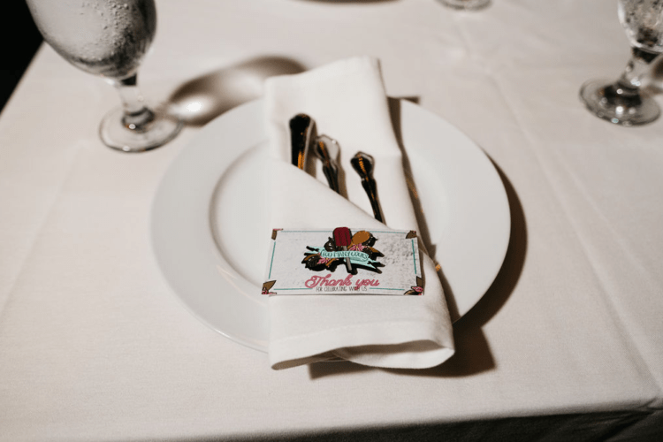 Enamel pins were DIYed by the couple as their wedding favors