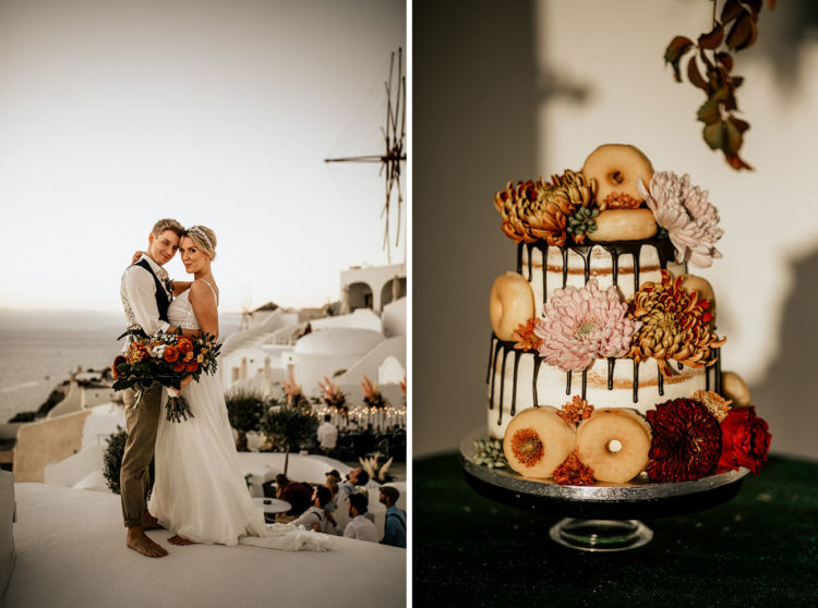 The wedding cake was a naked one with chocolate drip, fresh bold blooms and donuts