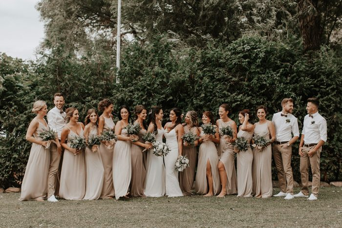 grey maxi bridesmaid gowns and grey pants plus white shirts for guys are a chic mix