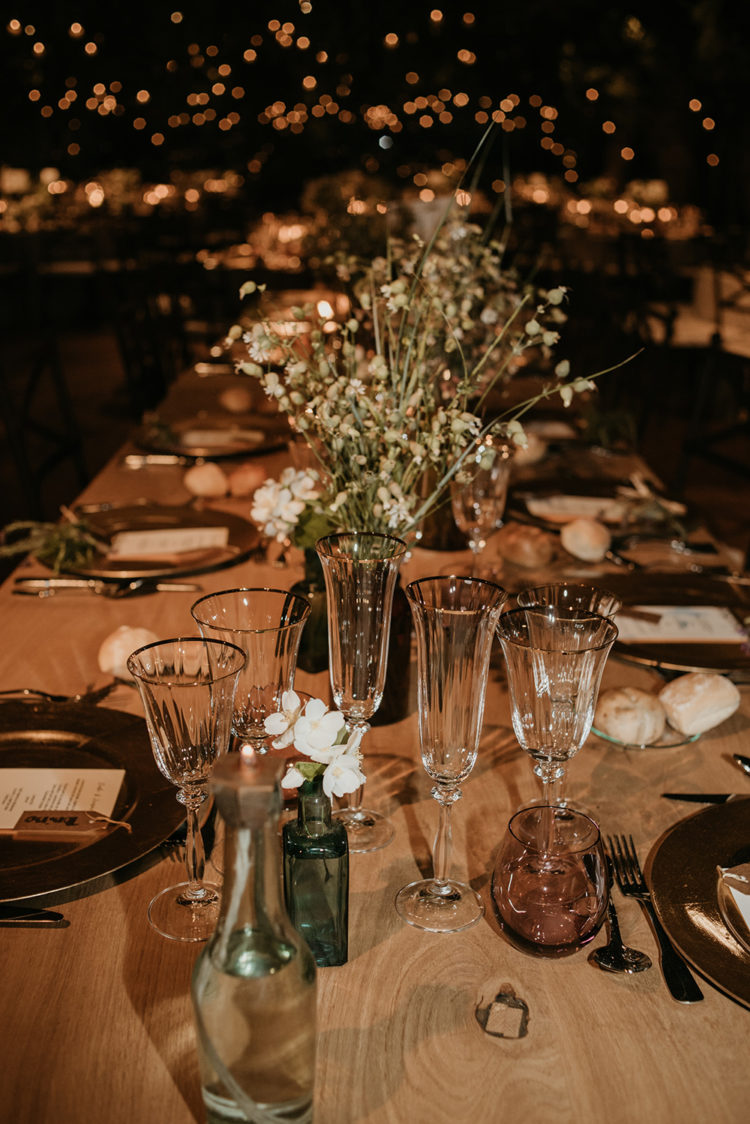 The blooms were simple and the tables were uncovered, which gave a rustic feel to the space