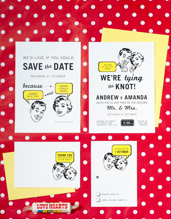 a retro-inspired wedding invitation suite done in black, white and yellow