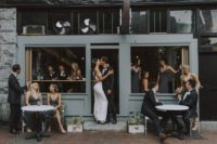 graphite grey is a stylish choice for both girls and guys and the wedding party will look nice