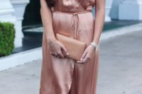 12 a fantastic rose silk wrap dress with spaghetti straps and a sash, a gold printed clutch for a tender feel