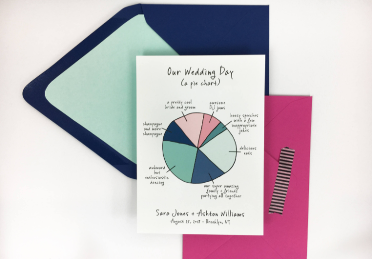 a super fun save the date drawn as a pie chart looks as if you've hand drawn it yourself