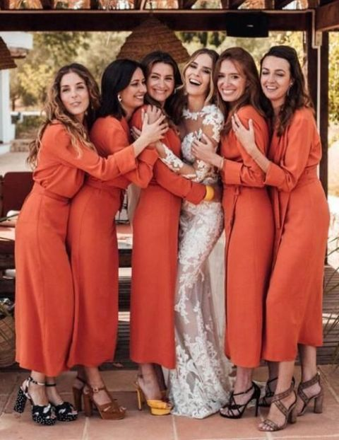 bright orange wrap midi bridesmaid dresses with long sleeves look cool for a fall wedding
