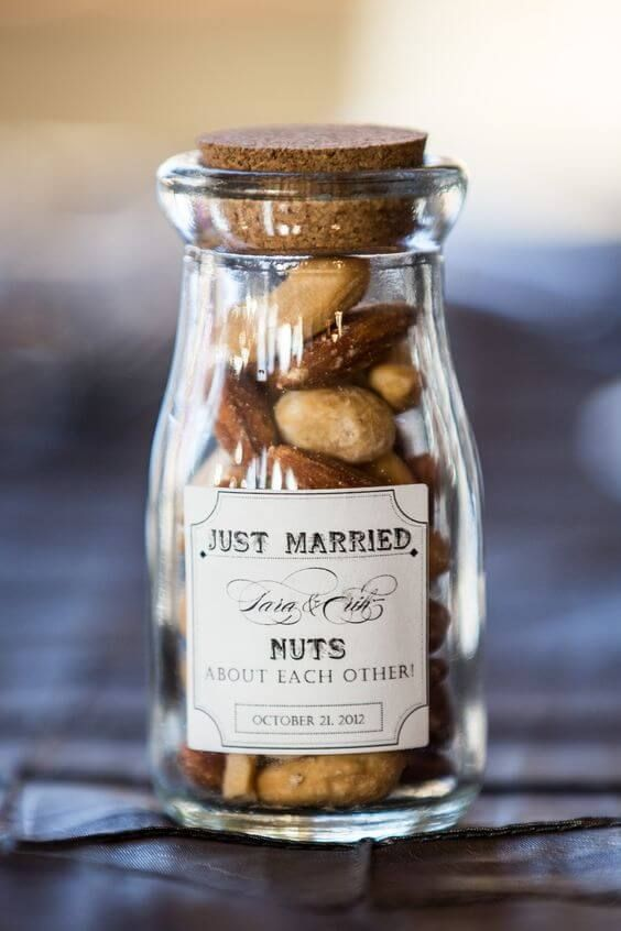 a jar with nuts and a personalized label with a touch of humor will inspire your guests