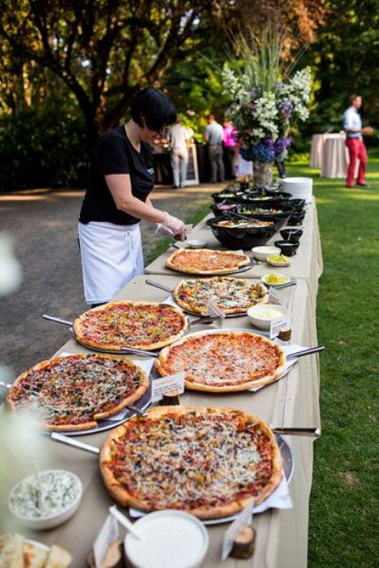 a stylish pizza bar with a slad bar next to it is a great idea for many weddings