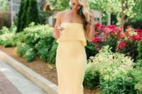 13 a sunny yellow strapless midi dress plus nude heeled sandals and turquoise tassel earrings