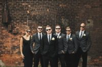 15 grey blazers and black pants plus ties for guys and a black maxi dress for a groomslady