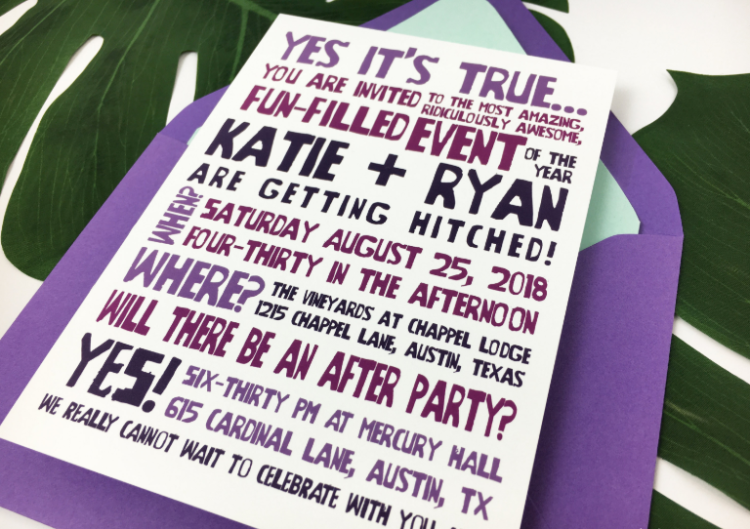 this colorful purple, black and fuchsia wedding invite with fun letters is in your face