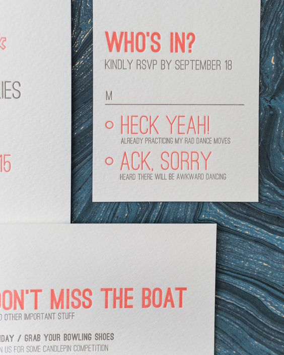 a fun modern neon typography RSVP for a cool modern wedding with much dancing