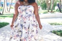 18 an amazing strapless A-line plus size floral midi dress, creamy strappy shoes and a matching bag plus a necklace