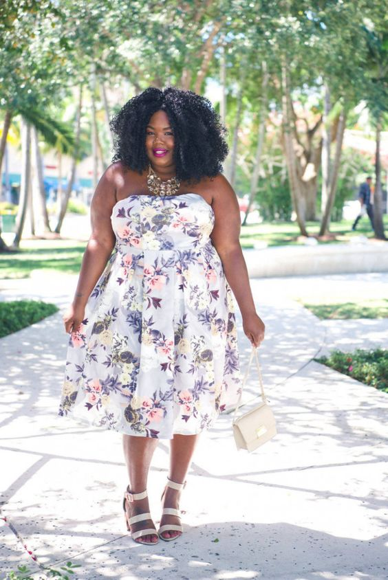 an amazing strapless A-line plus size floral midi dress, creamy strappy shoes and a matching bag plus a necklace