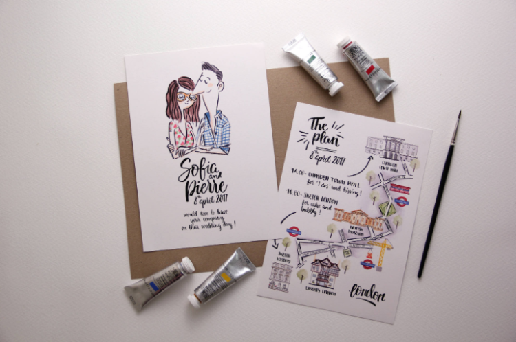 illustrated wedding invitations are very whimsy, catchy and can beccome your work of art after the wedding