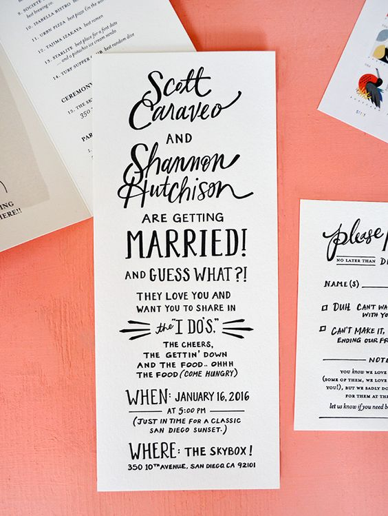 a fun hand lettered wedding invitation in black and white for a party-like wedding