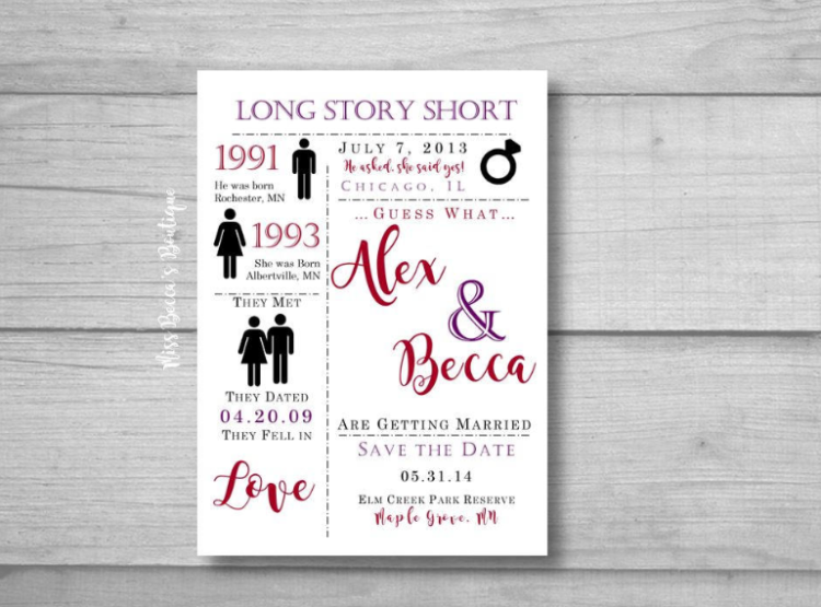 a fun save the date telling the story of your relationship in short