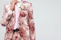 20 a pink floral suit, a white shirt and a pink tie for a bright summer wedding