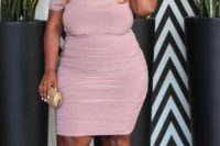 20 a pink off the shoulder knee dress, metallic shoes and a faceted metallic clutch for a tender girlish look