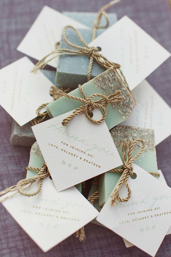 all-natural handcrafted soaps with labels and rope are a great idea for a beach or coastal wedding