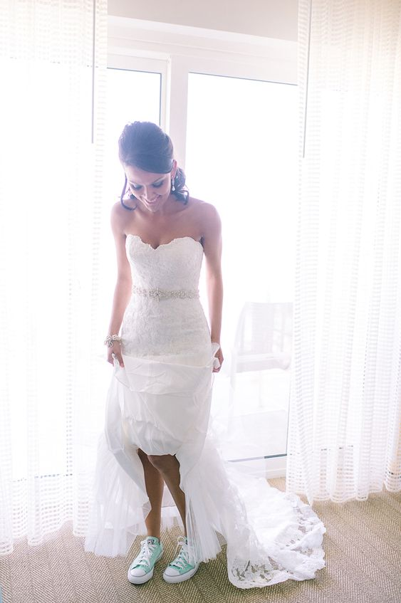 bridal look with bright Converse sneakers