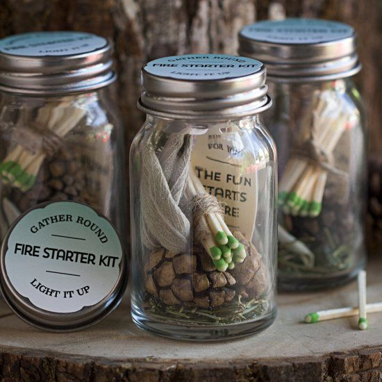 a fire starter kit is a great DIY favor for a fall or winter wedding and it can have a fantastic forest smell