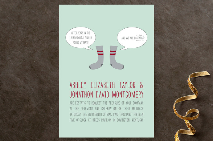 a fun wedding invitation for a couple with a strong sense of humor - socks, just imagine that