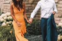 21 a gorgeous sunny yellow midi dress with an asymmetric ruffled skirt, a deep V-neckline and no sleeves