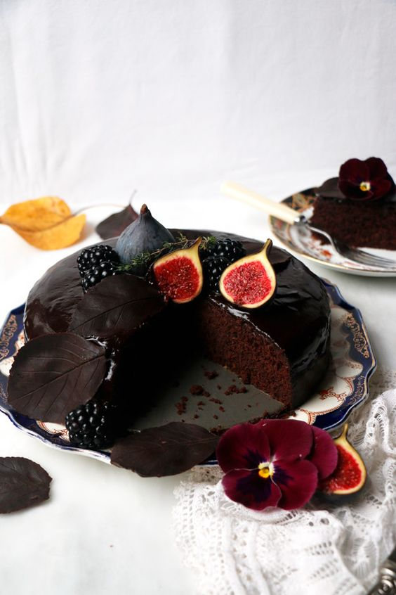 a rich fall chocolate cake with figs on top is gluten-free and vegan