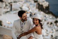 21 if you are wearing a minimalist wedding dress, you may add a stylish hat as a higlight