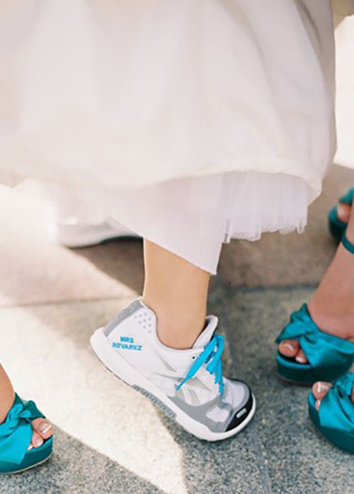 personalize your wedding trainers or sneakers embroidering or printing your new second name