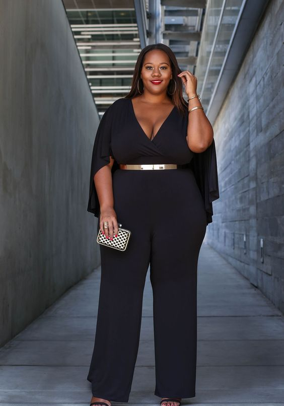 559188975ba Picture Of all black wedding guest outfit for a plus size lady