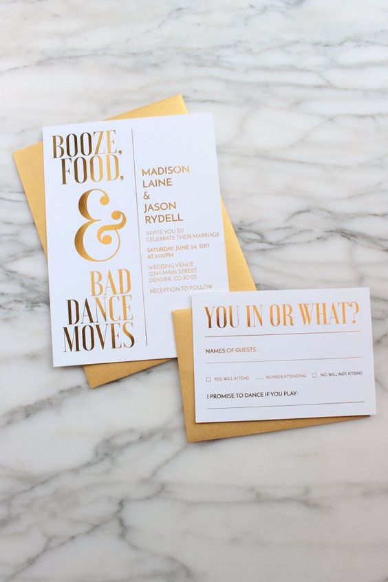 a fun wedding invitation suite in gold and white with funny text that shows you as a couple