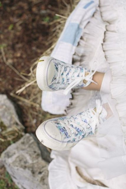 romantic blue floral print wedding sneakers will finish off your look with a girlish feel
