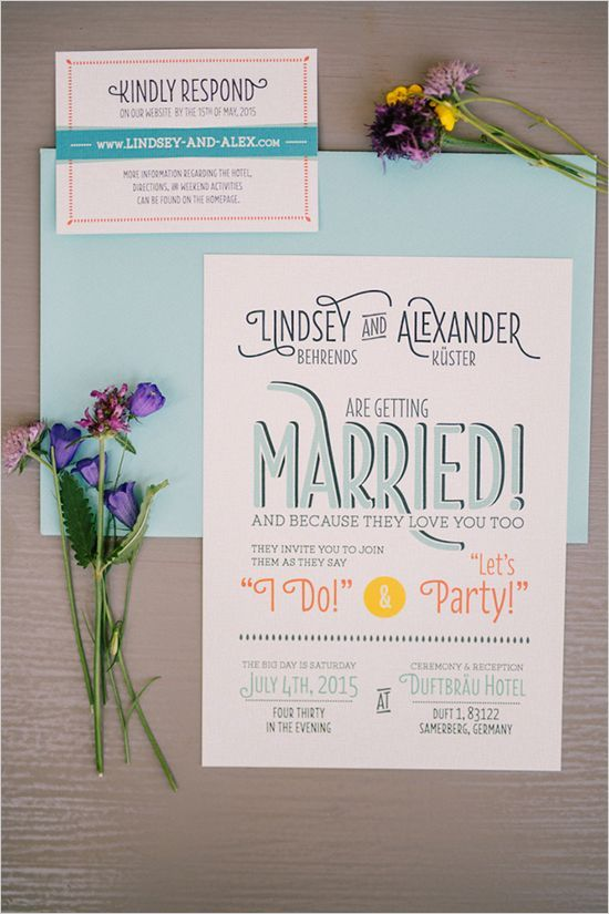a fun wedding invite in aqua, orange and yellow for a party-inspired wedding