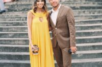 catchy yellow dress is a great choice for
