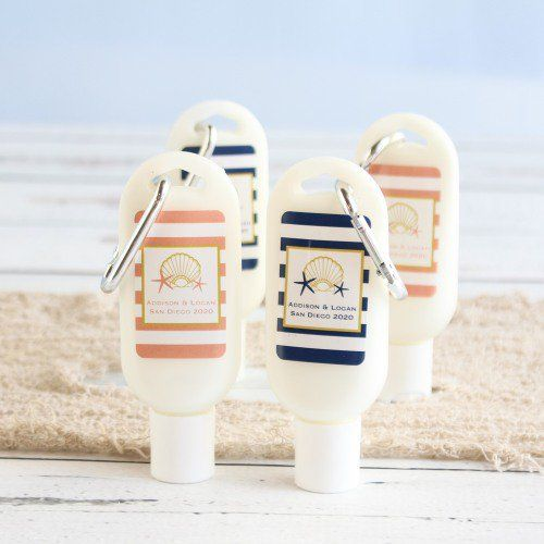 personalized sunscreens with carabiners are terrific for tropical destination weddings