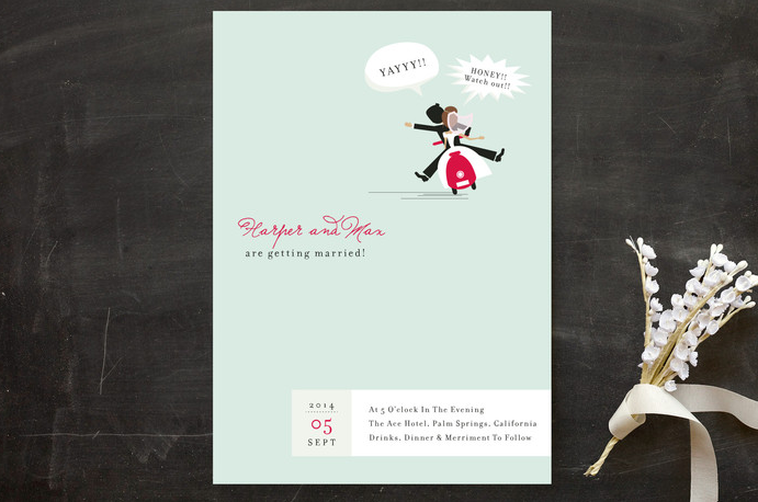 a funny wedding invitation with a couple on a scooter and with whimsical letters