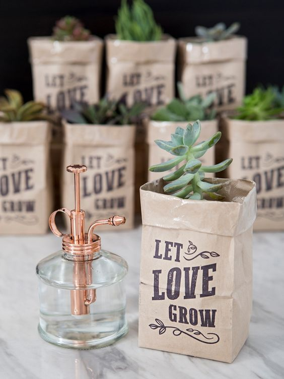 DIY succulent wedding favors in printable bags are cute and fun and won't break the bank