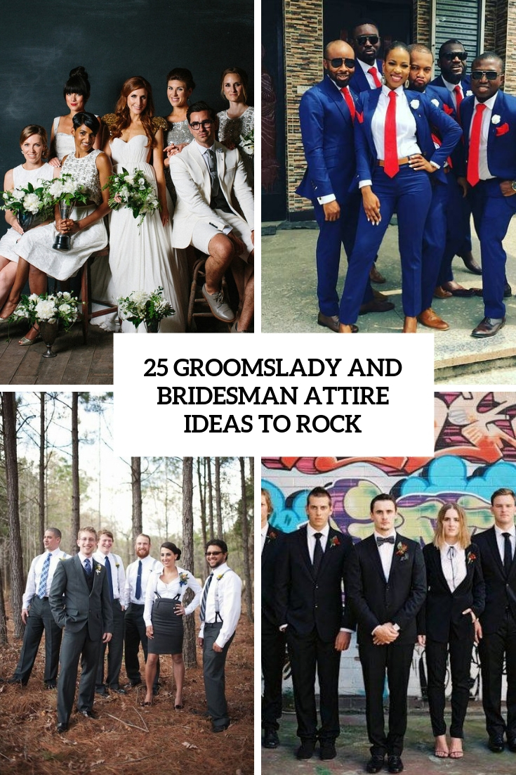 groomslady and bridesman attire ideas to rock cover