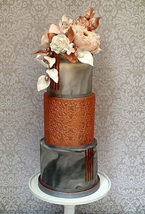 a stunning wedding cake with grey marble tiers, sugar blooms and touches of rust for a glam wedding
